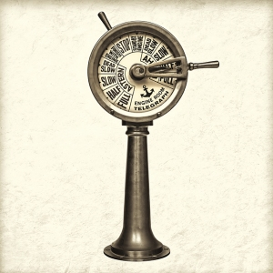Retro styled image of a nineteenth century engine room telegraph